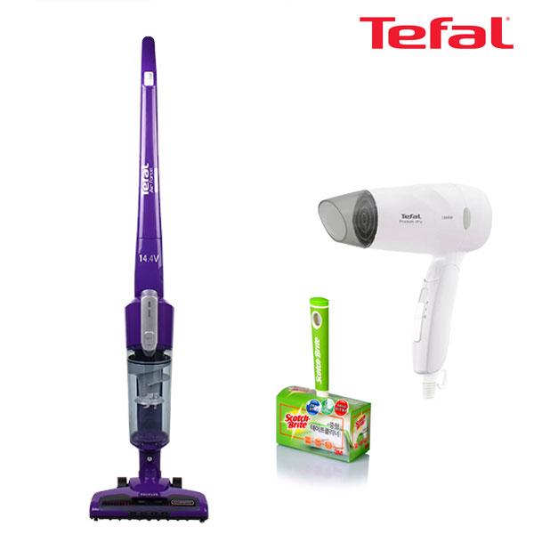 테팔 무선 청소기 에어포스 라이트 14.4V (퍼플)+에센셜 포켓 드라이기+3M테이프 클리너(중)