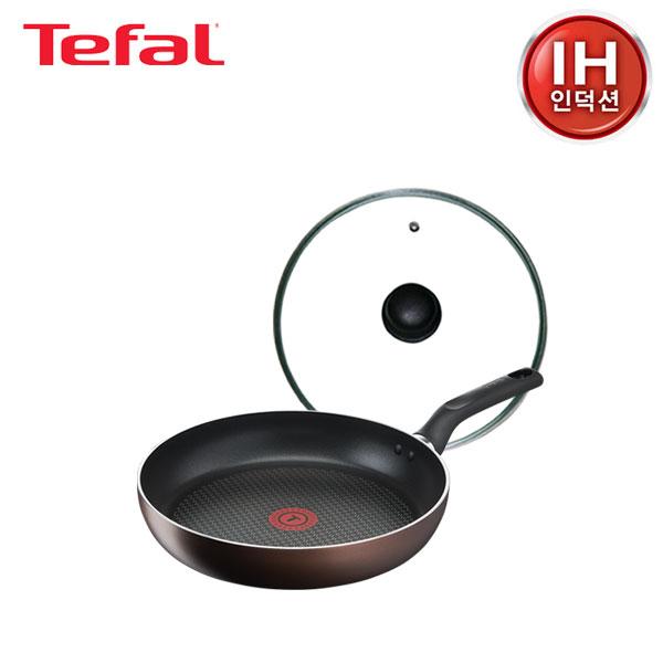 테팔 인덕션 초콜릿 티타늄 프로 프라이팬 28cm+유리뚜껑 28cm